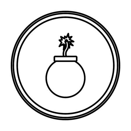 Línea peligro bomba explosión guerra emblema ilustración vectorial