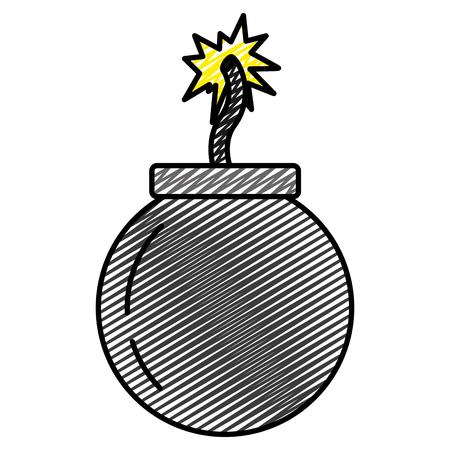 Doodle bomba explosión darger guerra arma ilustración vectorial Ilustración de vector