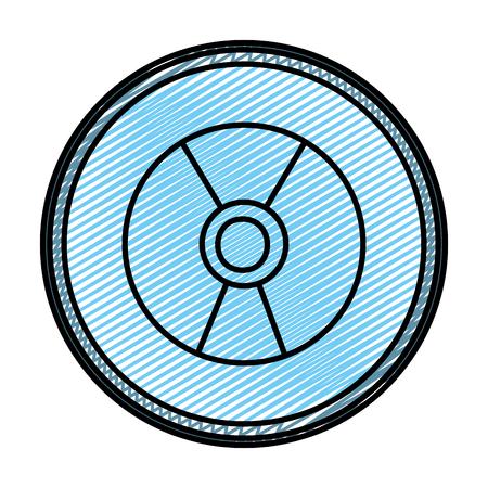 doodle danger hazard energy power emblem vector illustration