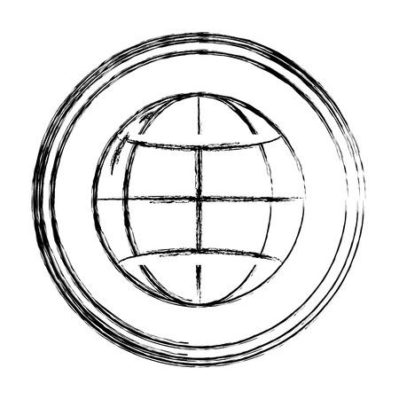 grunge network digital global connection emblem Vectores