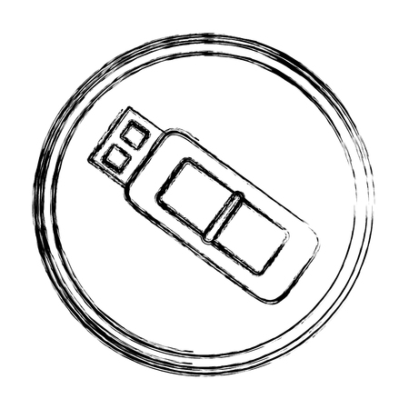 grunge usb memory data technology emblem vector illustration Illustration