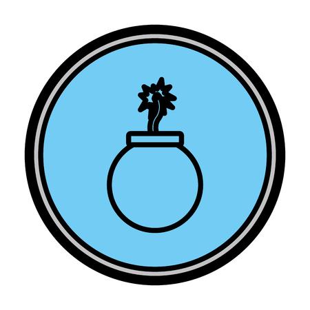Ilustración de vector de emblema de guerra de explosión de bomba de peligro de color
