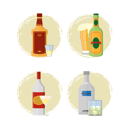 Set of alcohol drinks Illustration