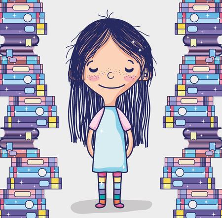 Cute girl with books Çizim