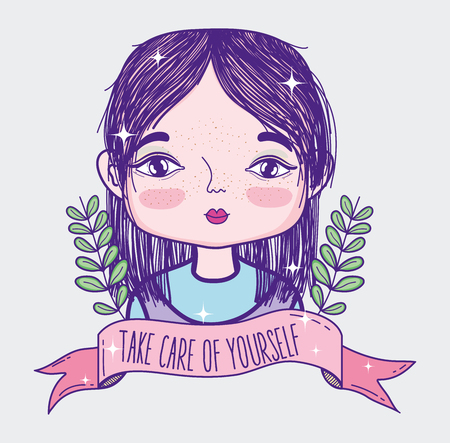 Take care of yourself quote with girl cartoon 일러스트