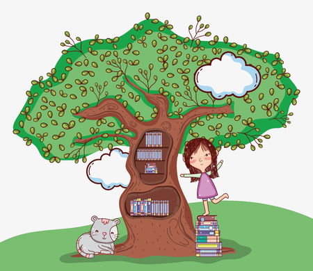 Cute girl with tree library