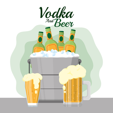 Vodka and beer Ilustrace
