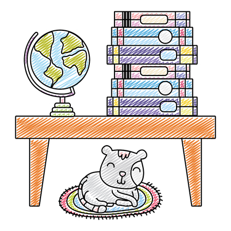 doodle books and global desk in the table and cat vector illustration