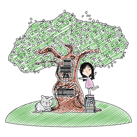 doodle girl playing with books inside tree and cat vector illustration