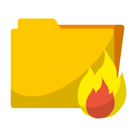 folder file with caution hot fire vector illustration