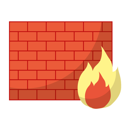 structure brick wall with caution fire vector illustration