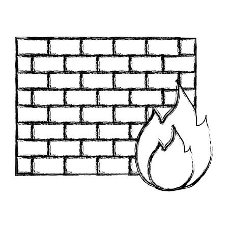 grunge structure brick wall with caution fire vector illustration