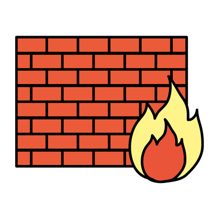 color structure brick wall with caution fire vector illustration Illustration