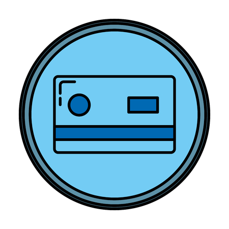 color business credit card technology emblem vector illustration