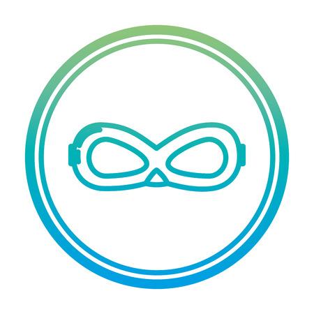 degraded line crime mask face accessory emblem vector illusstration