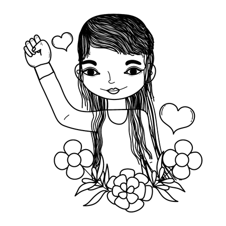 line woman with protest hand up and flowers leaves vector illustration Illustration