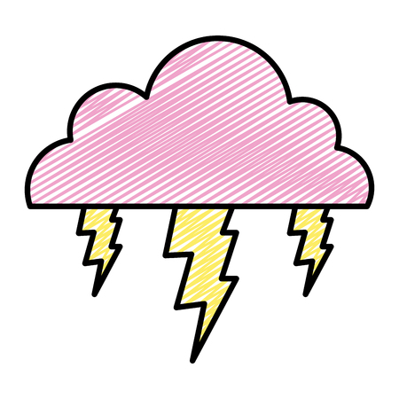 doodle cloud with thunders electic storm weather vector illustration
