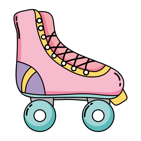 fun roller skate shoes style vector illustration Stock Illustratie