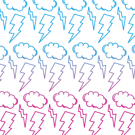 degraded line thunders storm and cloud weather background vector illustration