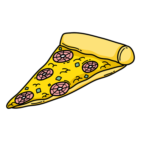 delicious pizza with salami cheese food vector illustration
