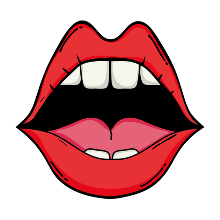 open mouth with teeth and beauty lips vector illustration
