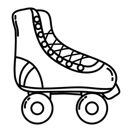line fun roller skate shoes style vector illustration