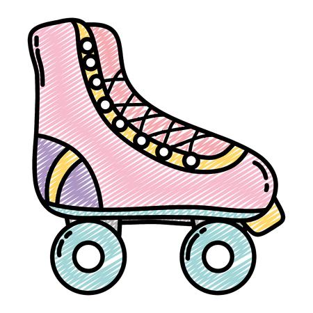 diversión del patín de ruedas zapatos de la ilustración del vector del estilo del bosquejo