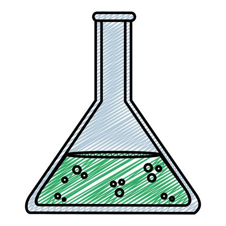 doodle lab flask chemical science experiment vector illustration Illustration