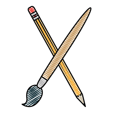 doodle wood pencil and art paintbrush object vector illustration Иллюстрация
