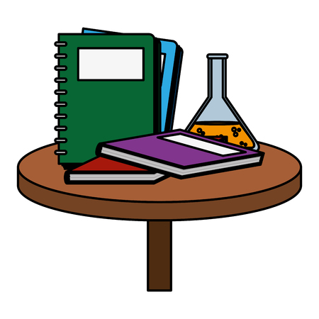 color notebooks with books and flask in the table vector illustration Illustration