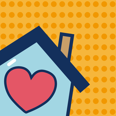 Home with heart inside over yellow background vector illustration graphic design Illustration