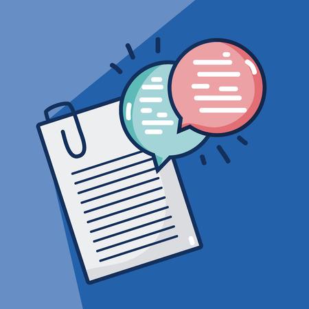 Documenten met praatjebellen over blauw achtergrond vector illustratie grafisch ontwerp
