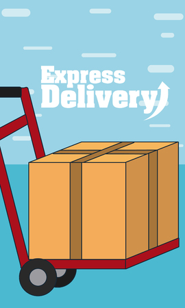 Handtruck holding boxes over blue background vector illustration graphic design
