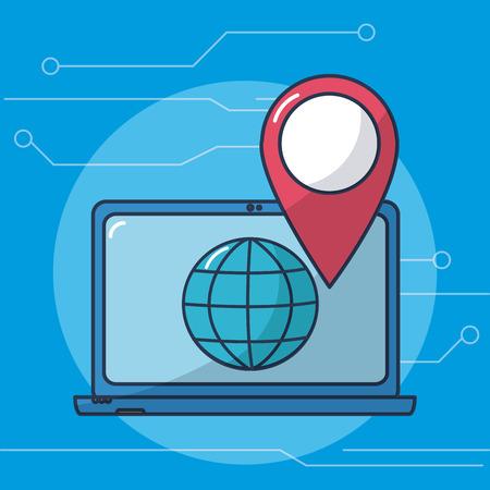 Laptop navigating on internet vector ilustration