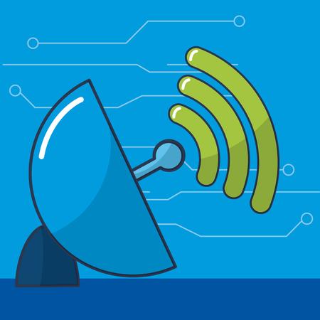 Telecommunication antenna signal vector ilustration