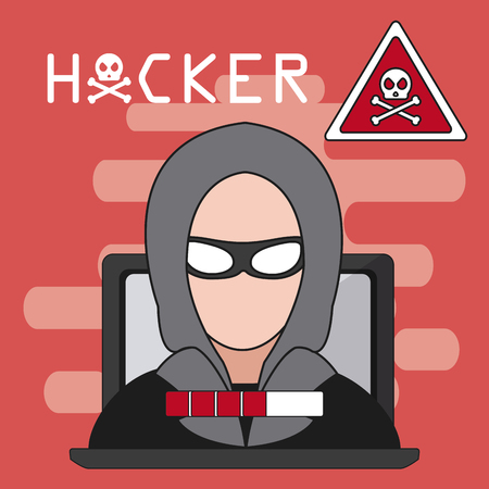 Hacker on laptop with attention sign vector illustration graphic design Illustration