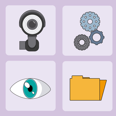 Set of security system square icons vector illustration graphic design Illustration