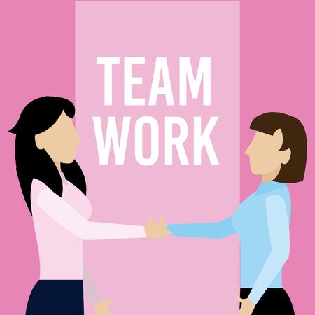 Business womens teamwork vector illustration graphic design