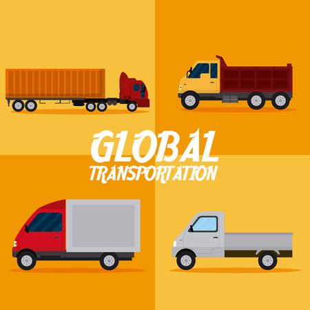 Global transportation concept square frames vector illustration graphic design