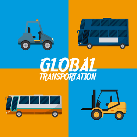 Global transportation concept square frames vector illustration graphic design