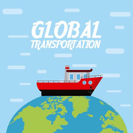 Ship boat over world vector illustration graphic design Illustration