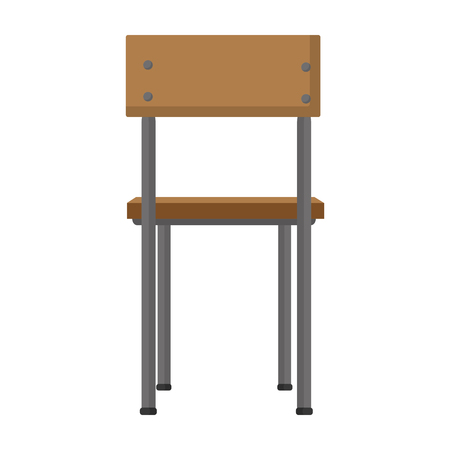 back wood school chair education vector illustration