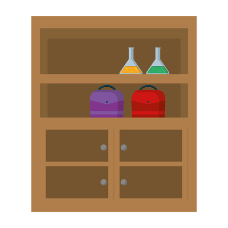 wood shelf organizer equipment style vector illustration