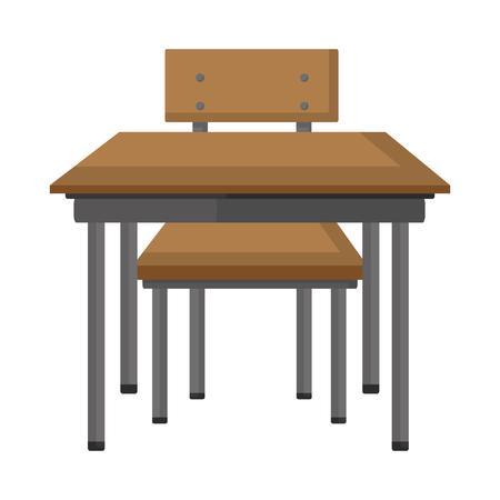 front wood school desk education vector illustration Illustration