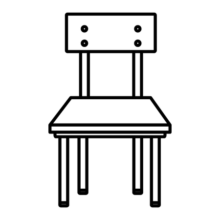 line front wood school chair education vector illustration