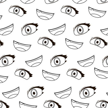 line cute woman eye and mouth background vector illustration
