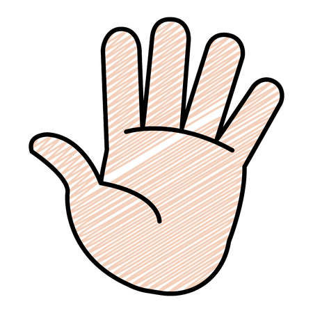 doodle nice palm hand gesture style vector illustration