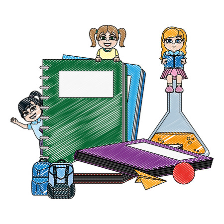 doodle happy girls students with school utensils vector illustration