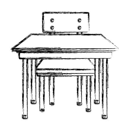 grunge front wood school desk education vector illustration Illustration