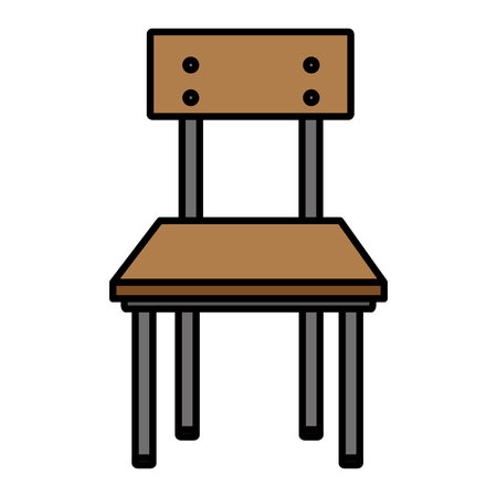 color front wood school chair education vector illustration